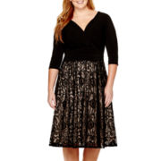 Melrose 3/4-Sleece Ruched-Waist Dress - Plus