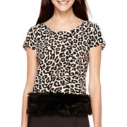 Worthington® Short-Sleeve Animal Print Faux-Fur Blouse - Tall