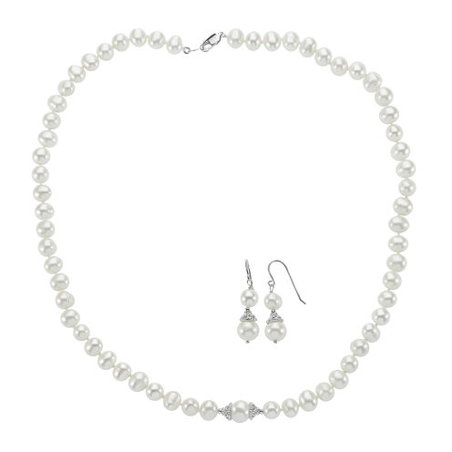 Cultured Freshwater Pearl Earring and Necklace Set