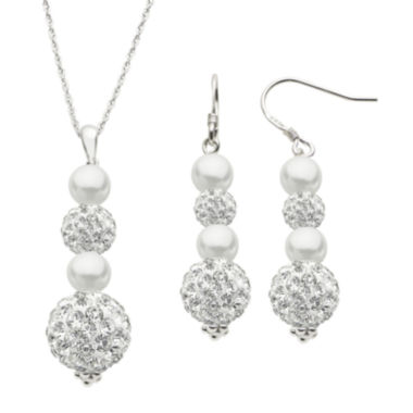 jcpenney.com | Cultured Freshwater Pearl and Crystal Earring and Necklace Set