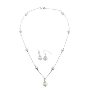 jcpenney.com | Cultured Freshwater Pearl Orbital Earring and Necklace Set