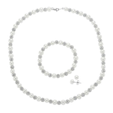 jcpenney.com | Cultured Freshwater Pearl and Crystal Fireball 3-pc. Jewelry Set