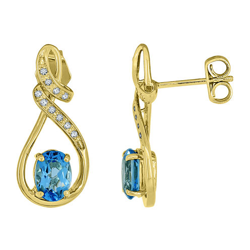 Genuine Blue Topaz and Lab-Created White Sapphire Infinity Earrings