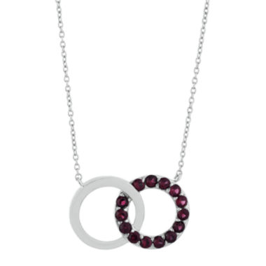 jcpenney.com | Genuine Garnet Interlocking Double-Circle Sterling Silver Necklace