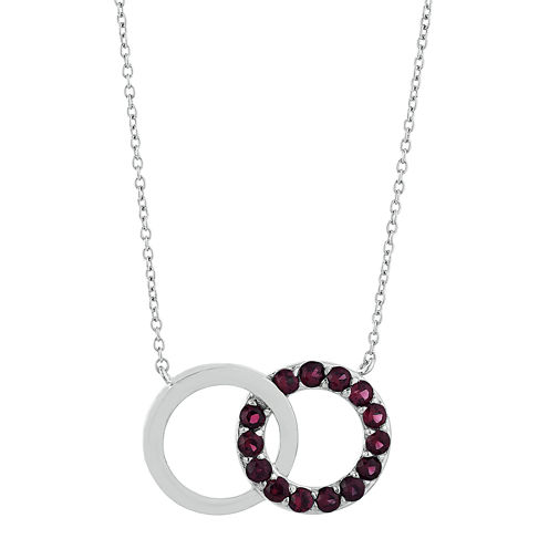 Genuine Garnet Interlocking Double-Circle Sterling Silver Necklace