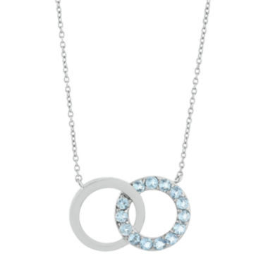 jcpenney.com | Lab-Created Aquamarine Interlocking Double-Circle Sterling Silver Necklace