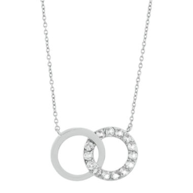 jcpenney.com | Genuine White Topaz Interlocking Double-Circle Sterling Silver Necklace