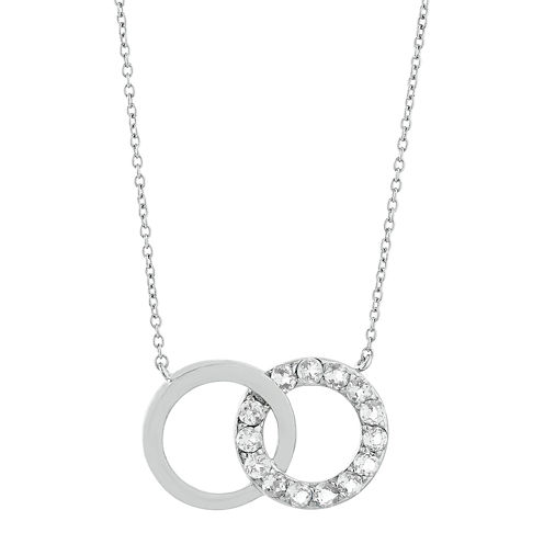 Genuine White Topaz Interlocking Double-Circle Sterling Silver Necklace