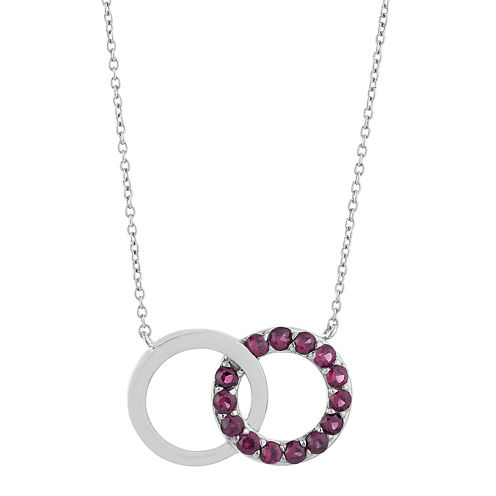 Lab-Created Ruby Interlocking Double-Circle Sterling Silver Necklace