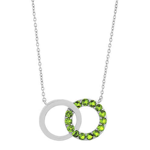 Genuine Peridot Interlocking Double-Circle Sterling Silver Necklace