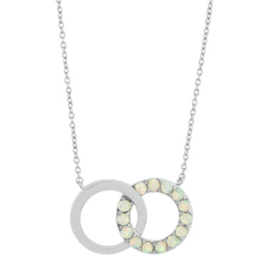 jcpenney.com | Lab-Created Opal Interlocking Double-Circle Sterling Silver Necklace