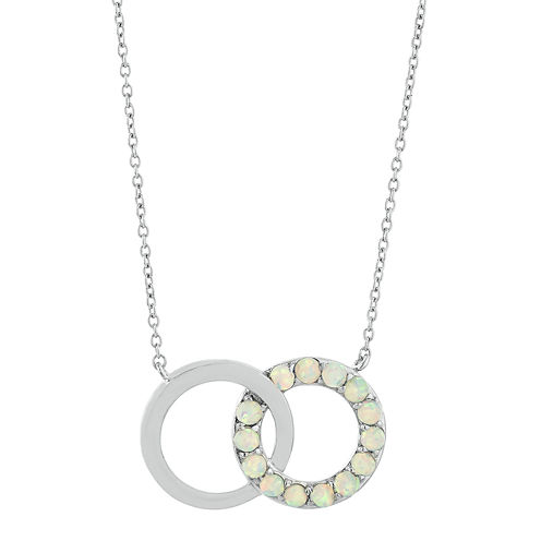 Lab-Created Opal Interlocking Double-Circle Sterling Silver Necklace