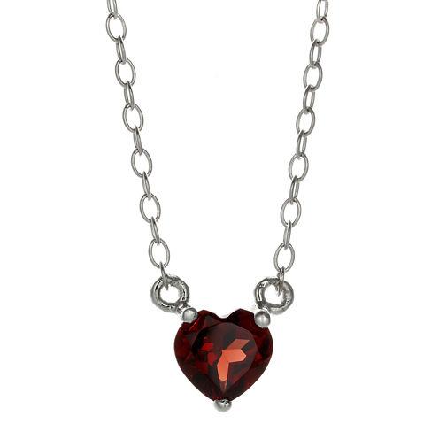 Genuine Garnet Sterling Silver Heart Pendant Necklace