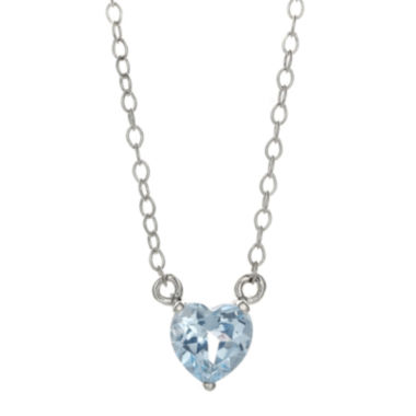 jcpenney.com | Lab-Created Aquamarine Sterling Silver Heart Pendant Necklace
