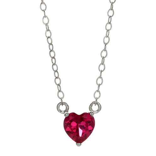 Lab-Created Ruby Sterling Silver Heart Pendant Necklace