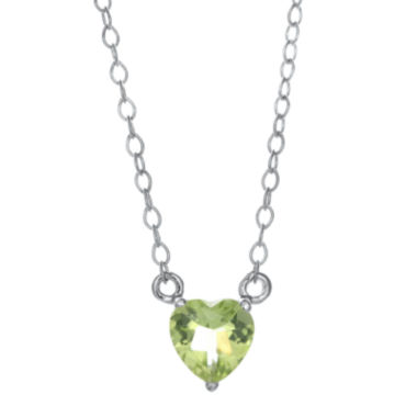 jcpenney.com | Genuine Peridot Sterling Silver Heart Pendant Necklace