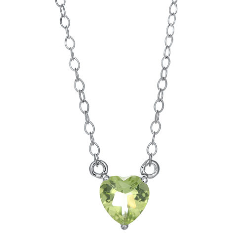 Genuine Peridot Sterling Silver Heart Pendant Necklace