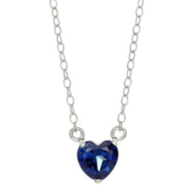 jcpenney.com | Lab-Created Sapphire Sterling Silver Heart Pendant Necklace