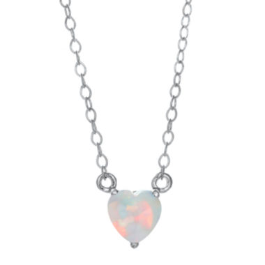 jcpenney.com | Lab-Created Opal Sterling Silver Heart Pendant Necklace