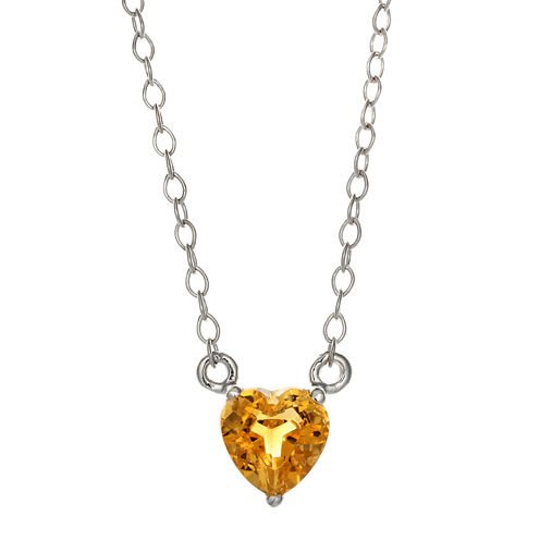 Genuine Citrine Sterling Silver Heart Pendant Necklace
