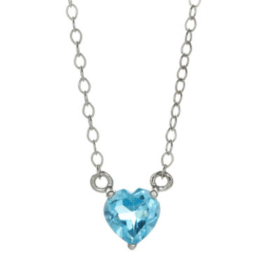 jcpenney.com | Genuine Blue Topaz Sterling Silver Heart Pendant Necklace