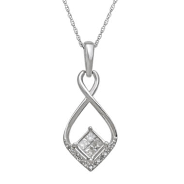 jcpenney.com | 1/4 CT. T.W. Diamond 10K White Gold Quad Princess-Cut Pendant Necklace