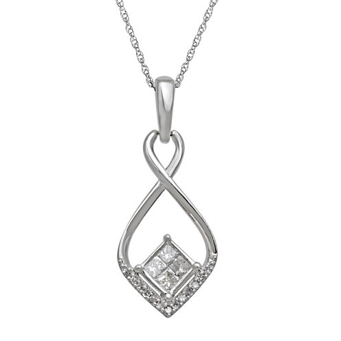 1/4 CT. T.W. Diamond 10K White Gold Quad Princess-Cut Pendant Necklace