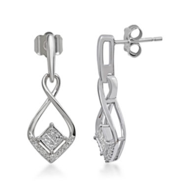 jcpenney.com | 1/4 CT. T.W. Diamond 10K White Gold Quad Princess-Cut Earrings