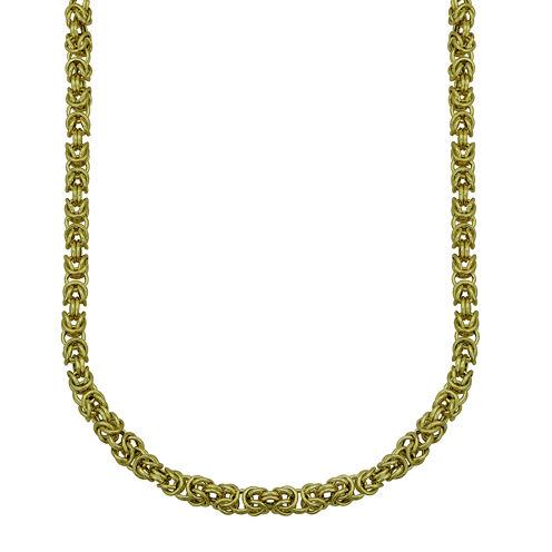 "Hollow 14K Yellow Gold 22"" Round Byzantine Chain"