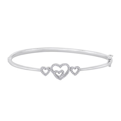 heart bracelet ladies triple sterling be personalised can slave bangles with bracelets flat bangle russian silver