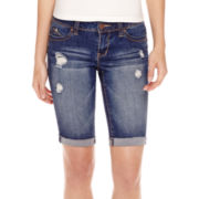 YMI® Destructed Bermuda Denim Shorts