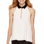 Olsenboye® Sleeveless Sequin-Collar Blouse