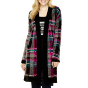 Arizona Long-Sleeve Brushed Plaid Duster