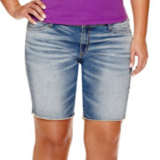 Arizona Raw-Hem Bermuda Shorts - Juniors Plus