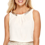 Worthington® Sleeveless Sequin-Trim Top