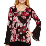 Coffee & Cake Bell-Sleeve Floral Print Lace-Up Top
