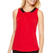 Worthington® Sleeveless Sequin-Trim Top - Tall