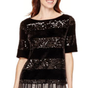 Worthington® Short-Sleeve Striped Sequin Top