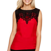 Worthington® Sleeveless Lace-Trim Top - Tall