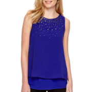 Worthington® Sleeveless Embellished Double Layer Top