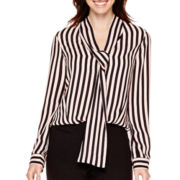 Worthington® Long-Sleeve Tie-Neck Blouse