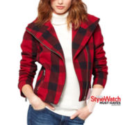 a.n.a®  Wool Plaid Moto Jacket