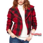 a.n.a® Wool Plaid Moto Jacket