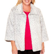 Alfred Dunner® 3/4-Sleeve Faux Fur Jacket - Plus