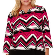 Alfred Dunner® 3/4-Sleeve Abstract Stripe Top - Plus