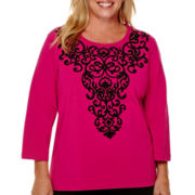 Alfred Dunner® 3/4-Sleeve Beaded Scroll Yoke Top - Plus