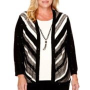 Alfred Dunner® Long-Sleeve Chevron Stripe Layered Sweater - Plus