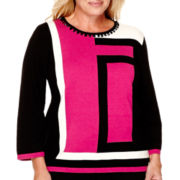 Alfred Dunner® 3/4-Sleeve Colorblock Sweater - Plus