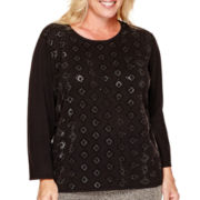 Alfred Dunner® 3/4-Sleeve Allover Beaded Sweater - Plus