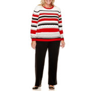 Alfred Dunner® Madrid Chenille Striped Sweater or Pull-On Pants - Plus